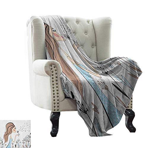 BelleAckerman Pool Blanket Girls,Fashion Woman with Dandelion Flower Spring Wind Garden Sketchy Illustration, Warm Taupe Blue Sofa Super Soft, Plush, Fuzzy Microfiber Throw Reversible,Comfy 60