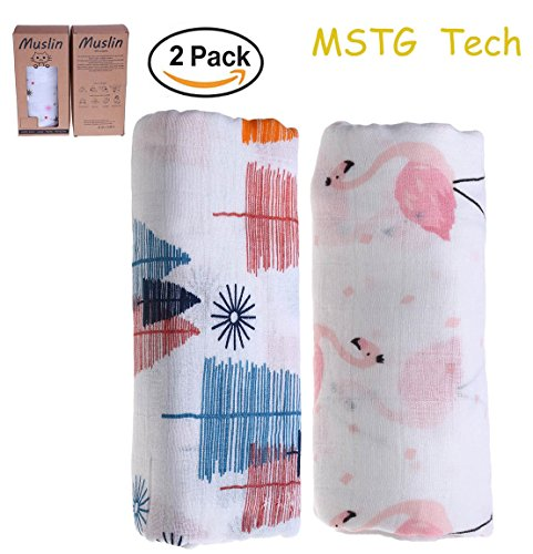 2 Pcs Mstg Tech Muslin Soft Organic Baby Bamboo Blanket Swaddle  Boys And Girls Bath Towel Blankets  Flamingo And Tree