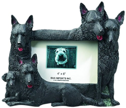 (Black German Shepherd Gift Picture Frame Holds Your Favorite 3x5 Inch Photo, A Hand Painted Realistic Looking Black German Shepherd Family Surrounding Your Photo. This Beautifully Crafted Frame is A Unique Accent to Any Home or Office. The Black German Shepherd Picture Frame Is The Perfect Gift For Black German Shepherd Owners And Lovers!)