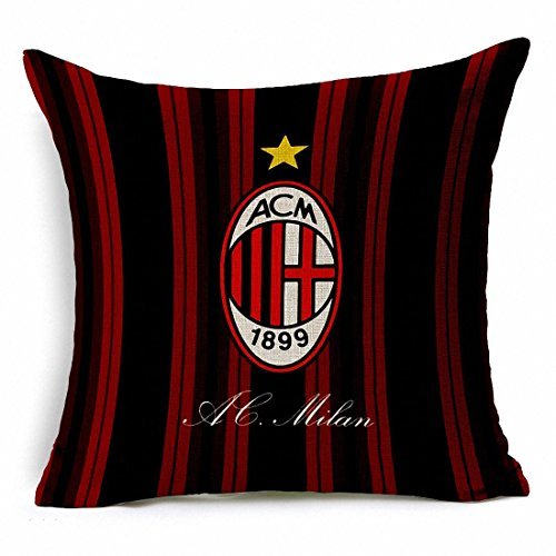 E-sunshine® Thick Cotton Blend Linen Square Throw Pillow Cover Decorative Cushion Case Pillow Case 18 X 18 Inches / 45 X 45 cm, New Football Club Badge (AC Milan)