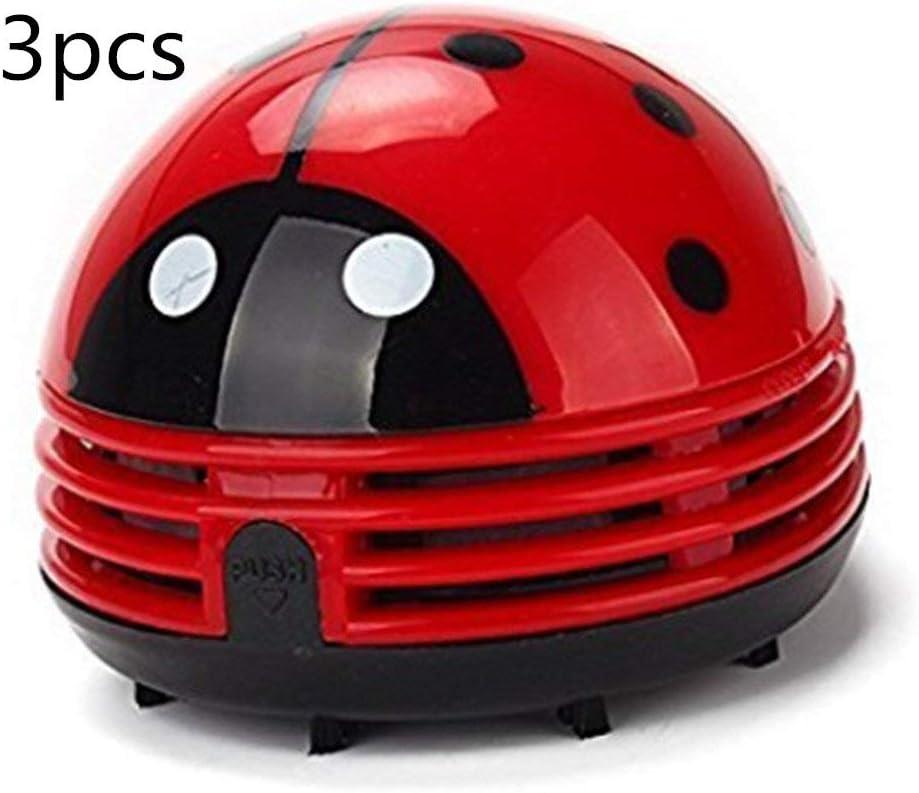 zswell Ladybug Vacuum Cleaner - Mini Vacuum Cleaner Portable Corner Desk Vacuum Cleaner Mini Cute Vacuum Cleaner Dust Sweeper 3Pcs