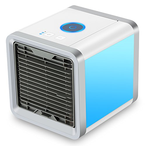 Fitfirst Personal Space Air Cooler, 3 in 1 USB Mini Portable Air Conditioner, Humidifier, Purifier and 7 Colors Nightstand, Desktop Cooling Fan for Office Home Outdoor Travel (White Cooler)