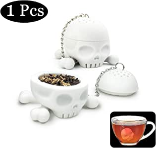 Tea Infuser Funny Skull Shaped Tea Filter Loose Leaf Tea Strainer for Tea Drinkers Cute Gift for Dad On Father's Day Silicone BPA Free Eco-friendly Material 1 Piece White By Hary