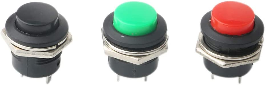 RUNCCI-YUN 15Pcs Push Button Switch ON//Off Momentary Button Power Switch Red Green Black Round Cap AC 6A//125V 3A//250V(no Lock)