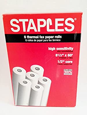 "Staples Thermal Fax Paper with 1/2""core, 8 1/2"" x 60', 6/Pack"
