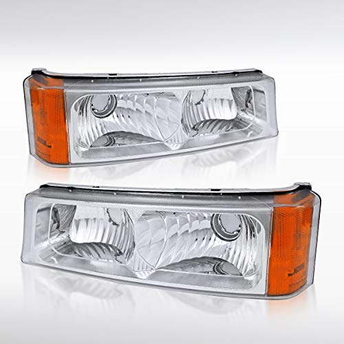 Autozensation For Chevy Silverado Avalanche Euro Clear Parking Bumper Lights Pair