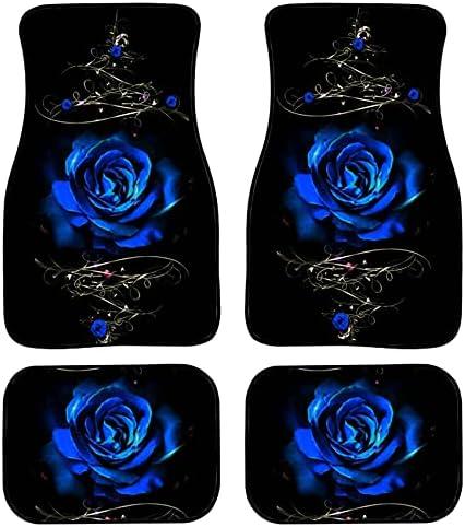 Belidome Blue Rose Car Floor Mats for Women Men Soft Durable Rubber Back Auto Decor Fit Most SUV Van Sedan