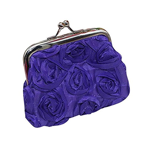 Purse Rose Flower Coin Handbag Small Wallet Womens Bag Wallet Wallet Clutch Noopvan Sale Purple Clearance 2018 xnWz4FCq