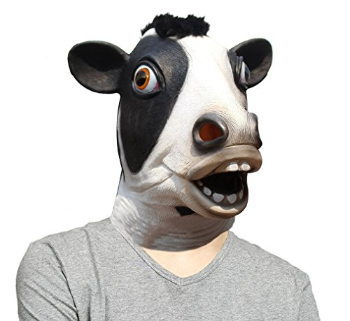 LUBBER Cow Latex Animal Halloween Costume Head Mask (Animal Nose Masks)
