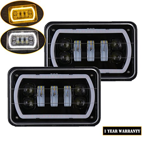 - Samlight 4x6 Halo led Headlights Sealed Beam Rectangular Replacement with DRL Amber Halo Turn Signal For Chevrolet Ford Trucks Freightliner Peterbil Kenworth Dodge H4651 H4652 H4656 H4666 H6545 …