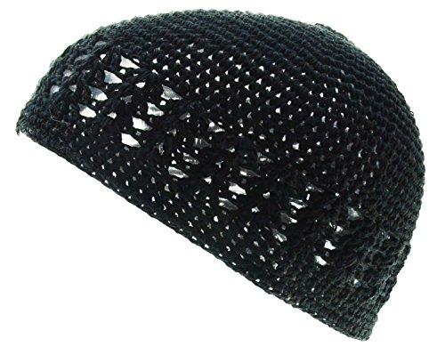 100% Cotton KUFI Crochet Beanie Skull Cap Knit Hat Brand New (Black)