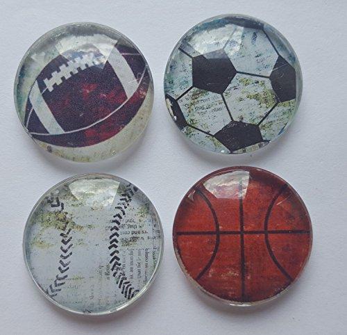 All Star Sports Glass Magnet set of 4 Basket Ball Baseball Football Soccer (Owls Basketball)