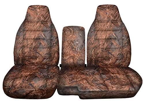 r/Mazda B-Series Camo Truck Seat Covers (60/40 Split Bench) with Center Console/Armrest Cover: Reeds Camouflage (16 Prints) 2005 2006 2007 2008 2009 2010 2011 ()