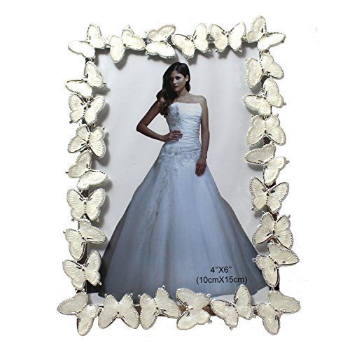 Cute Sophisticated Butterfly Metal Wedding Family Couple Picture Photo Frame - 6 Inch│Valentine's For - Frame Butterfly