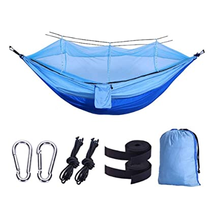 Camping Hammock With Mesh Cover Outdoor Mosquito Net Parachute Hammock Camping Hanging Sleeping Bed Swing Sports & Entertainment Camp Sleeping Gear