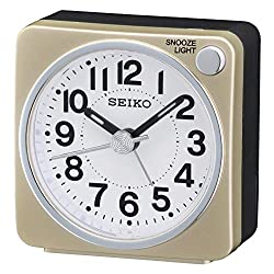 SEIKO Bedside Alarm Clock, Wood, Gold