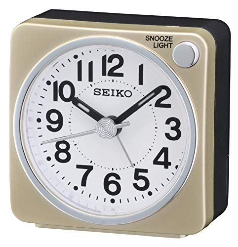 (SEIKO Bedside Alarm Clock, Wood, Gold)