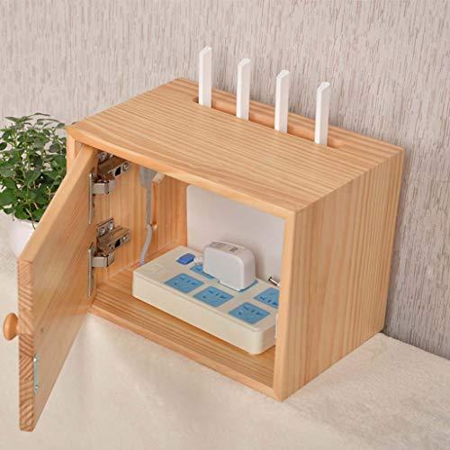 LBYMYB Wooden Storage Box Bracket/Bracket/Bracket WiFi Router TV Box Set-top Box Streaming Media 3 Layer Equipment Game Console Wall Shelf (Size : 30×20×22CM) (Pine Set Media Storage)