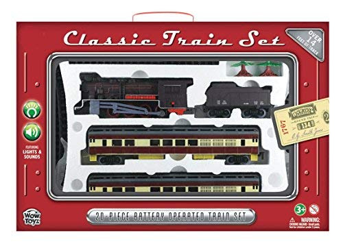 WowToyz Classic Train Set with Carry Case - Steam Engine with Passenger Car