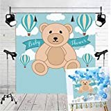 BINQOO 6x6ft Teddy Bear Baby Shower Birthday Backdrop Teddy Bear Hot Air Balloon Photography Background Girls Kids Childrens Birthday Party Photo Vinyl Decoration