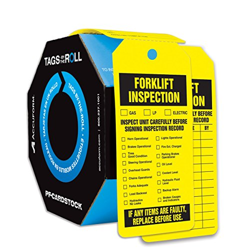 Accuform TAR704 Tags By-The-Roll Inspection and Status Tags, Legend''FORKLIFT INSPECTION'', 6.25'' Length x 3'' Width x 0.010'' Thickness, PF-Cardstock, Black on Yellow (Pack of 100) by Accuform (Image #1)