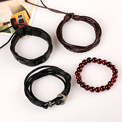 with steel alloy anchor incl jewellery pouch Aiuin length: 17-18 cm mens jewellery leather anchor bracelet