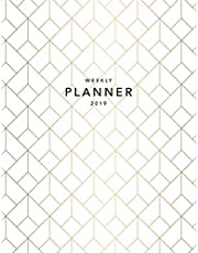 Weekly Planner 2019: Geometric Pattern | 8.5 x 11 in | 2019 Organizer with Bonus Dotted Grid Pages + Inspirational Quotes + To-Do Lists | Gold Art Deco