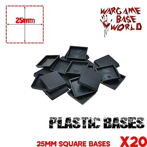 (Mercury_Group,Round Rectangle Oval Square Gaming Base,_Model Bases for Gaming Miniatures 20pcs 25mm Square Base )