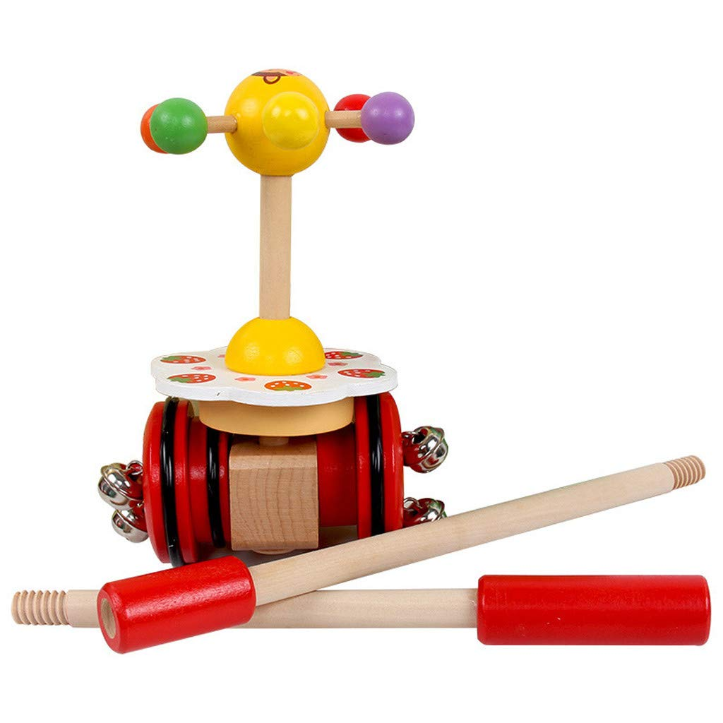 Celendi Kid Toy Creative Wooden Baby Walk Single Rod Spiral Trolley Learning Education Toy Cart for Children's Day Gift by Celendi (Image #5)