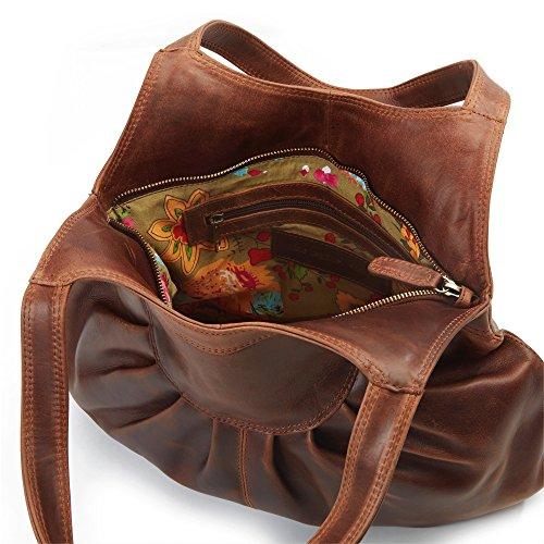 Signare-Borsa Shopper in pelle, Hetty pieghettato, colore: marrone
