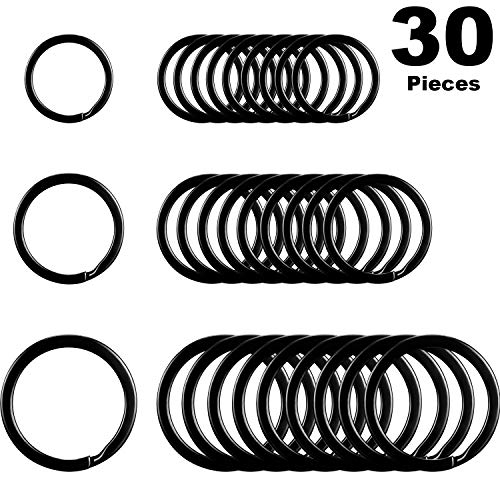 Round Flat Key Chain Rings Metal Split Ring for Home Car Keys Organization, 30 Pieces (Black, 3/4 Inch, 1 Inch and 1.25 Inch) ()