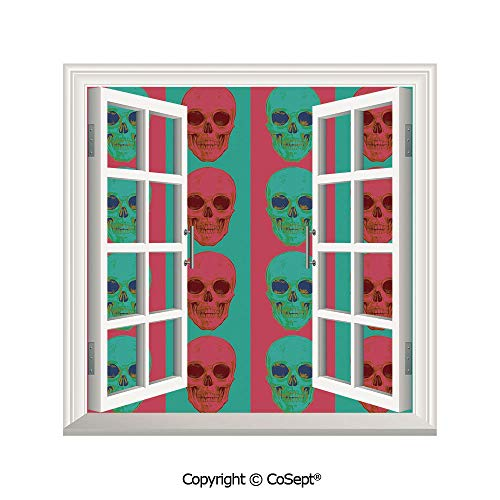 SCOXIXI Creative Window View Wall Decor,Skull Pattern with Artistic Digital Effects Gothic Dead Anatomy Illustration Decorative,Window Stickers Have Beautiful Scenery(25.86x22.63 inch) (Best Ct Anatomy App)