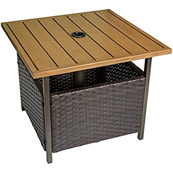 HollyHOME Patio Wicker Square Bistro DiningTable, Garden Leisure Coffee  Side Table With Umbrella Hole