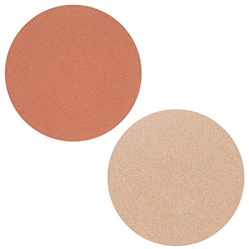 Powder Blush Highlighter Duo: 2 PC Set Includes Peach Petal Blush + POW! Highlighting Kit Makeup for Face, Magnetic Refill Pan 37mm, Paraben Free, Gluten Free, Made in the USA