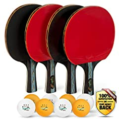 Quality Craftsmanship And Design Excellence   You Want:  ► A premium ping pong set suited for up to 4 players with 4 performance paddles, 4 orange and 4 white tournament balls, and a quality travel storage case. You Need:  ► A custom high qua...
