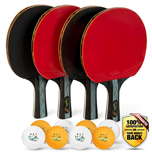 - Elite Topspin Ping Pong Paddle Set - Professional 4-Player Table Tennis Racket kit Includes 4 Premium Wood Paddles, 8 Tournament 3-Star Balls, and Portable Storage case - Gift Bundle for The Family