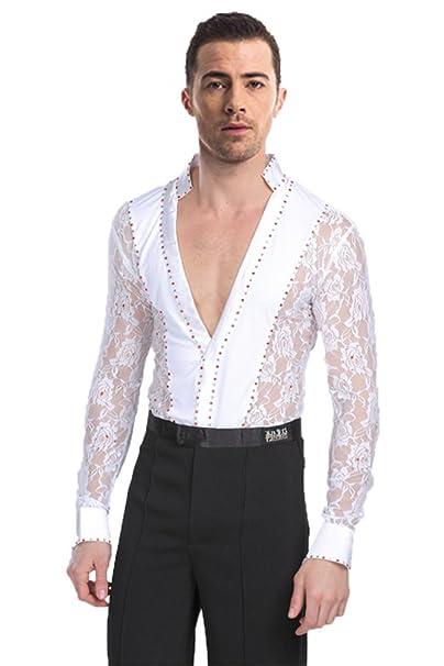 e29403323 KINDOYO Hombres Mangas Largas Cordón Translúcido Latín Baile Camisa    Pantalones Actuación Ropa Escénica Disfraces Bailando
