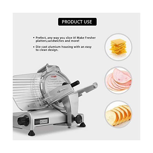 VIVOHOME 110V 320W 10 Inch Heavy Duty Stainless Steel Electric Meat Slicer Machine for Home and Commercial Use ETL… 4