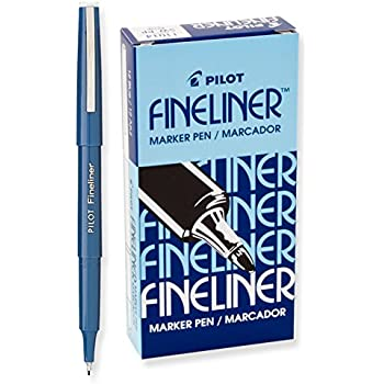 Pilot Fineliner Marker Pens, Fine Point, Blue Ink, Dozen Box (11014)
