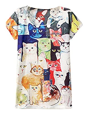 KaiTingu Women's Short Sleeve Cat Family Print Vintage T Shirt