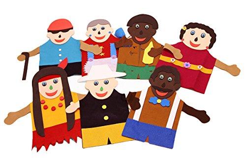 Fantoches Inclusão Social Feltro 7 Personagens Embalagem Plástico Carlu Brinquedos