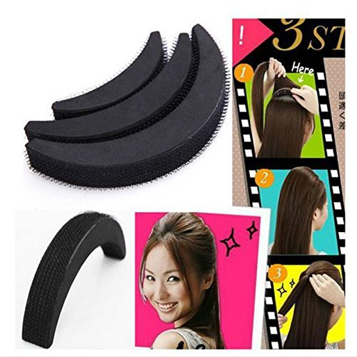 DIY Hair Bumpit Volume Beehive Hair Bump Hair Pad Haight Tools 3Pcs/Set Black (1 Set, Black)