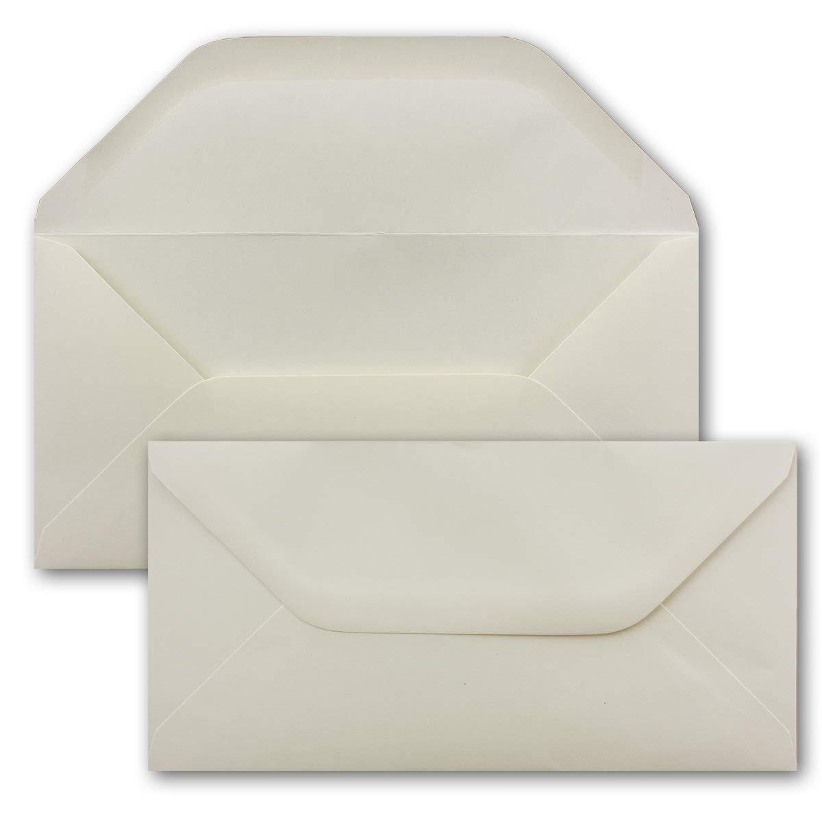 120 g//mq 100 St/ück Creme 220 x 110 mm Karten und Co diplomatici con lembo dritto - Buste per lettere carta colorata formato DIN lungo DIN Lang