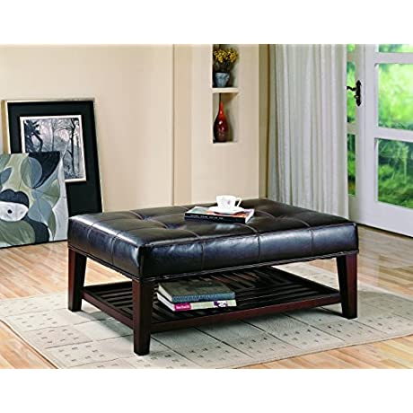 Coaster Home Furnishings Modern Transitional Rectuangular Tufted Upholstered Ottoman With Storage Shelf Brown Faux Leather