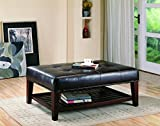 Rectangular Leather Ottoman Coffee Table Faux Leather Tufted Ottoman with Storage Shelf Brown and Cappuccino