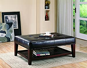 Elegant Coaster Home Furnishings Modern Transitional Rectuangular Tufted  Upholstered Ottoman With Storage Shelf   Brown Faux Leather