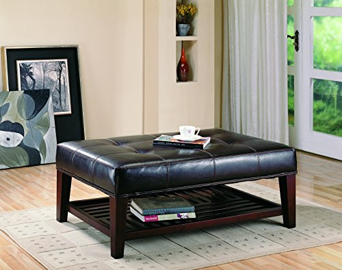 Leather Top Coffee Table - Coaster Transitional Cappuccino Button Tufted Ottoman