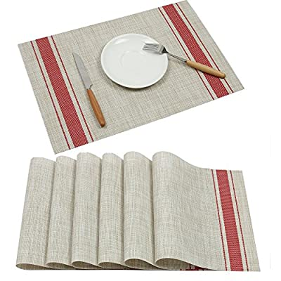 Placemats Ivalue PVC Place Mats Washable Bamboo Placemats for Table Non Slip Woven Plastic Table Mats (Set of 6, Red) - Placemats materail: The dining table placemats are made of 70% good quality PVC and 30% polyester yarn, which is co-friendly and safe for kitchen dinning table use Rectangle PVC table mats size: 18 X 12in(45 X 30cm approx), 6 sets of washable placemats per package, non slip placemats for dining table Heat resistant placemats: vinyl placemats sets insulation effect could reach to 80℃, help to protect your dinning table from scalding and create an enjoyable dining environment - placemats, kitchen-dining-room-table-linens, kitchen-dining-room - 51CDwu%2Bm mL. SS400  -