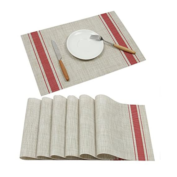 Placemats Ivalue PVC Place Mats Washable Bamboo Placemats for Table Non Slip Woven Plastic Table Mats (Set of 6, Red) - Placemats materail: The dining table placemats are made of 70% good quality PVC and 30% polyester yarn, which is co-friendly and safe for kitchen dinning table use Rectangle PVC table mats size: 18 X 12in(45 X 30cm approx), 6 sets of washable placemats per package, non slip placemats for dining table Heat resistant placemats: vinyl placemats sets insulation effect could reach to 80℃, help to protect your dinning table from scalding and create an enjoyable dining environment - placemats, kitchen-dining-room-table-linens, kitchen-dining-room - 51CDwu%2Bm mL. SS570  -
