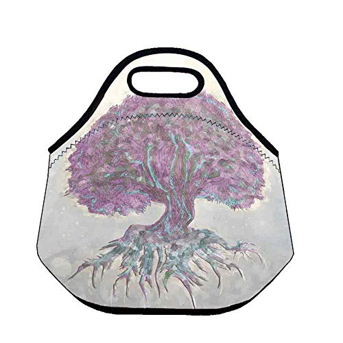 Tree of Life Stylish Neoprene Lunch Bag,Watercolors Style Print of Old Plant with Bokeh Lights Majestic Roots Nature for Women Girls Kids,Throw(11.8''L x 6.3''W x 11''H)